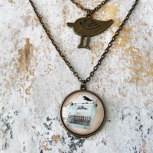 Vintage Typewriter & Bird Pendant Necklace